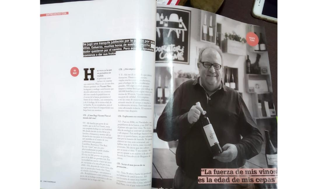 Entrevista a Vicente Flors en 5Barricas, el suplemento del Vino de El Mundo